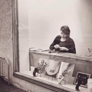 Anna working at Gruvan.