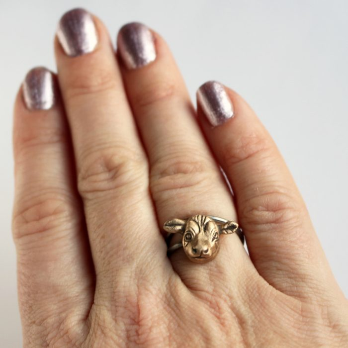 New tiny cow ring listed in my etsy shop therehellip